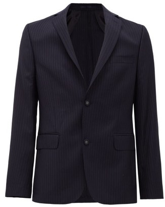 Officine Generale 375 Single-breasted Pinstriped Wool-flannel Jacket - Navy White