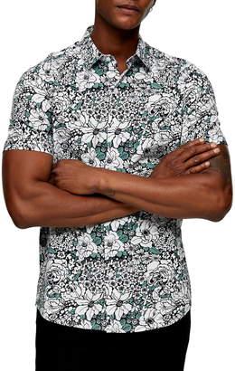 Topman Slim Fit Floral Print Short Sleeve Button-Up Shirt