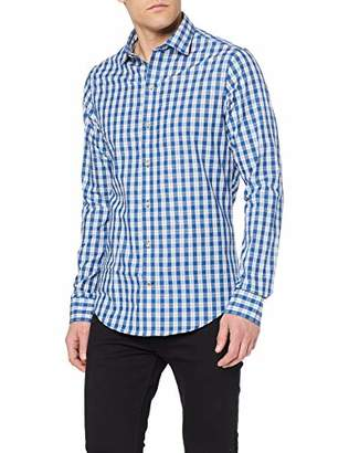 Izod Men's Dobby Check Spread Collar Shirt Casual (Estate Blue 435), L