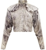 Mimi Prober - Chauncey Ruffle-shoulder Organic-cotton Blouse - Womens - Grey Multi