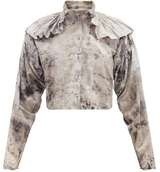 Mimi Prober - Chauncey Ruffle-shoulder Organic-cotton Blouse - Grey Multi