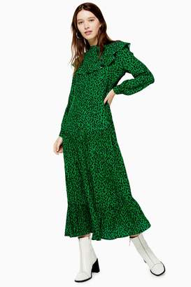 Topshop Womens Yoke Chuckon Midi Dress - Green