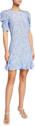 Veronica Beard Lila Puff-Sleeve Silk Flounce Dress