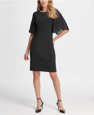 DKNY Chiffon Pleat Sleeve Sheath Dress