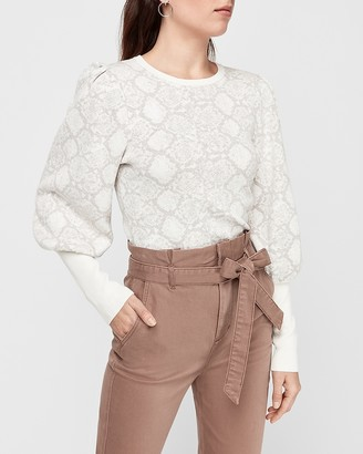 Express Snakeskin Print Puff Sleeve Fitted Sweater