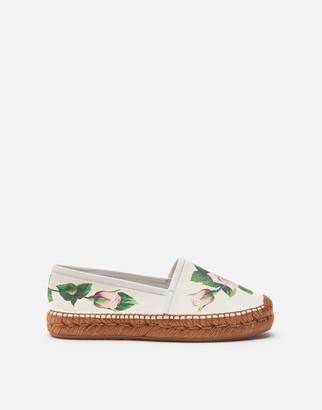 Dolce & Gabbana Tropical Rose Print Nappa Leather Espadrilles