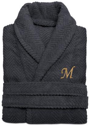 Linum Home Textiles Herringbone Weave Gray Bathrobe, Large/XLarge, Sand Letters, S