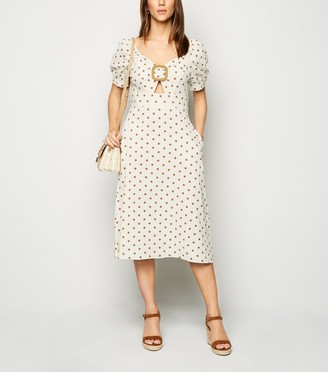 New Look Blue Vanilla Spot Buckle Midi Dress