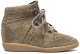 Isabel Marant Bobby Calfskin Velvet Leather Sneakers