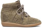Isabel Marant Bobby Calfskin Velvet Leather Sneakers