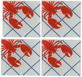 One Kings Lane Set of 4 Lobster Coasters - White/Red