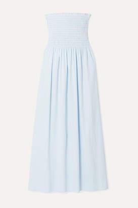 La Ligne Meredith Shirred Striped Cotton-blend Poplin Midi Dress - Light blue