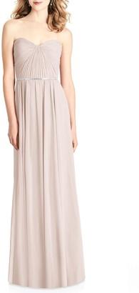 Jenny Packham Strapless Chiffon A-Line Gown