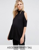 Asos TALL Top With Cold Shoulder and High Neck