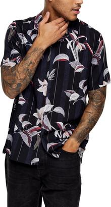 Topman Floral Stripe Short Sleeve Button-Up Camp Shirt