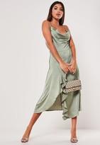 Missguided Khaki Ruffle Side Slip Cami Dress