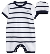 Emile et Rose Navy and White Stripe Knitted Romper and Hat