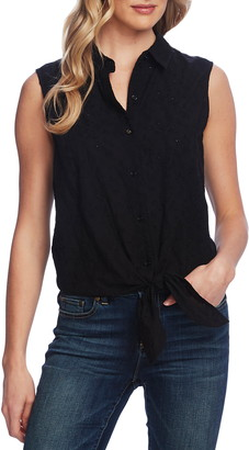 Vince Camuto Sleeveless Tie Front Floral Print Top