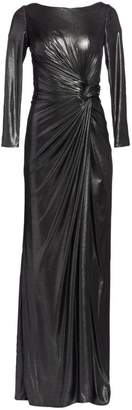 Rene Ruiz Collection Ruched Side Slit Patent Glitter Long-Sleeve Gown