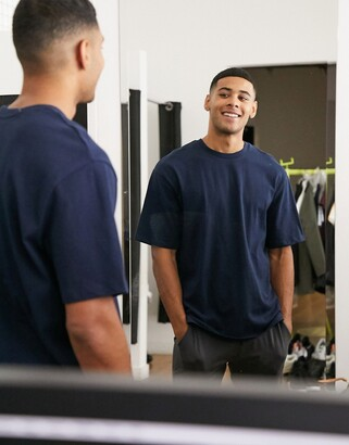 Selected oversized t-shirt in heavy organic cotton navy