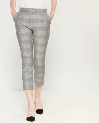 Les Copains Black & White Check Crop Pants