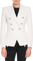 Balmain Classic Double-Breasted Wool Blazer, White