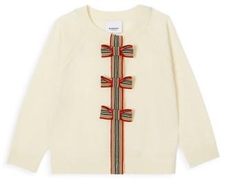 Burberry Little Girl's & Girl's Corrina Bow Wool Cardigan