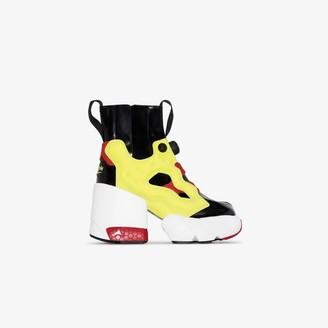 Maison Margiela X Reebok black and yellow Tabi Instapump Fury Hi 110 ankle boots