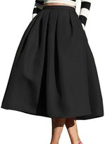 Roundshop Women's Vintage A-Line High Waisted Flare Pleated Midi Skirt L