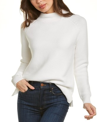 Forte Cashmere Garter Stitch Funnel Neck Sweater