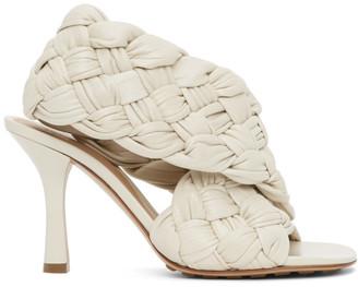 Bottega Veneta Off-White Intrecciato Board Heeled Sandals