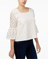 Kensie Diamond-Texture Ruffle-Sleeve Top