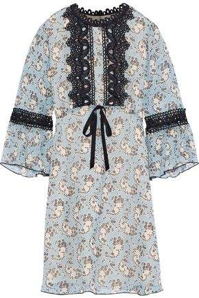 Anna Sui Guipure Lace-trimmed Printed Silk-chiffon Mini Dress