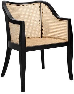 Bungalow Rose Cane Arm Chair Color: Black/Natural