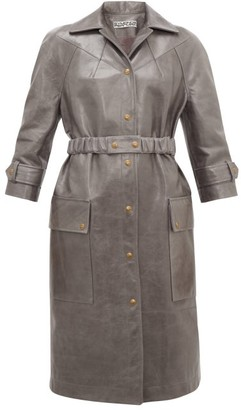 Symonds Pearmain - Belted Leather Coat - Womens - Grey