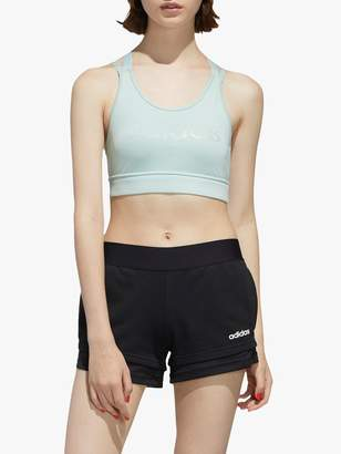 adidas Designed 2 Move Branded Sports Bra, Green Tint/Black