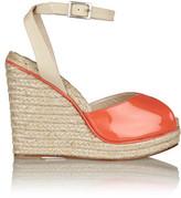 Oscar de la Renta Violet Patent-Leather Wedge Sandals