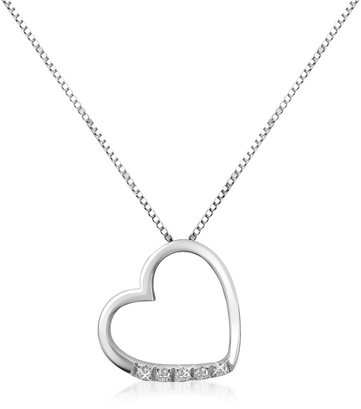 Forzieri 0.03 ct Diamond Floating Heart 18K Gold Necklace
