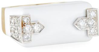 David Webb 18k White Enamel & Diamond Hero Ring, Size 6.5