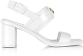 Tory Burch Gigi White Leather Two Band Mid-Heel Sandals