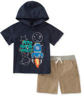 Kids Headquarters 2-Pc. Graphic-Print Hooded Shirt & Shorts Set, Little Boys