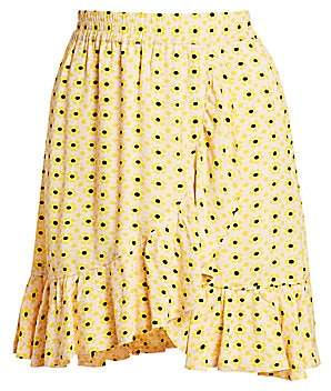 Ganni Women's Printed Crepe Skirt