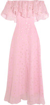 Temperley London Off-the-shoulder Fil Coupé Silk-blend Organza Gown - Pink
