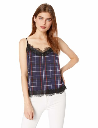 Cupcakes And Cashmere Women's Dale Painted Plaid Printed Reverse Crepon cami w/lace Trim
