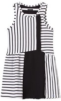 Ikks White and Black Stripe Jersey and Pleated Dress