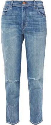 J Brand Distressed Faded Mid-rise Slim-leg Jeans