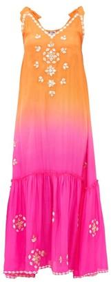 Juliet Dunn Ombre Mirror-embroidered Silk Maxi Dress - Orange Multi