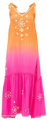 Juliet Dunn Ombre Mirror-embroidered Silk Maxi Dress - Womens - Orange Multi