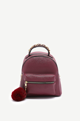 Ardene Faux Leather Backpack with Pompom