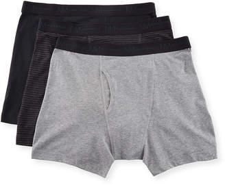 Neiman Marcus Men's 3-Pack Stretch Basics Cotton Boxer Briefs, Multi